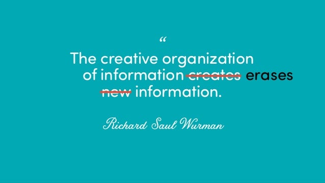 "@ redsesame #confabcentral 7 The creative organization of information creates new information. Richard Saul Wurman •"" eras..."