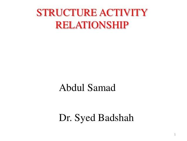 STRUCTURE ACTIVITY RELATIONSHIP Abdul Samad Dr. Syed Badshah 1