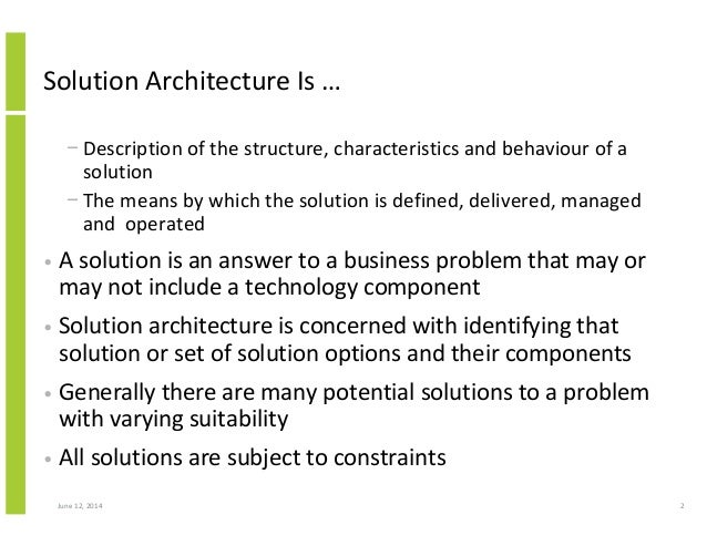 Structured Approach to Solution Architecture Alan McSweeney; 2.