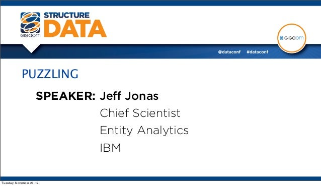 PUZZLING                      SPEAKER: Jeff Jonas                               Chief Scientist                            ...