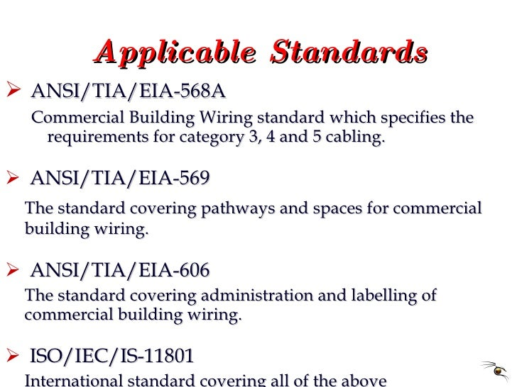 Applicable Standards <ul><li>ANSI/TIA/EIA-568A </li></ul><ul><ul><li>Commercial Building Wiring standard which specifies t...