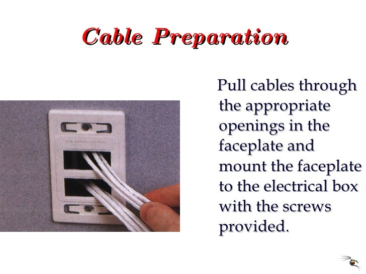 Cable Preparation <ul><li>Pull cables through the appropriate openings in the faceplate and mount the faceplate to the ele...