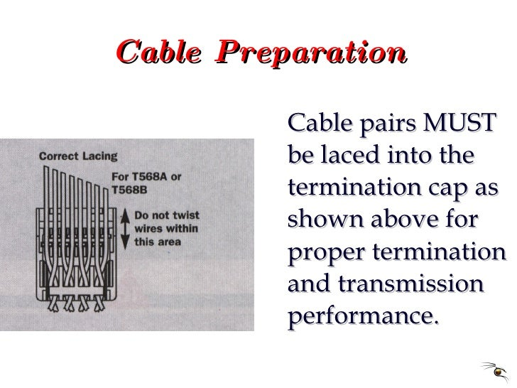 Cable Preparation <ul><li>Cable pairs MUST be laced into the termination cap as shown above for proper termination and tra...
