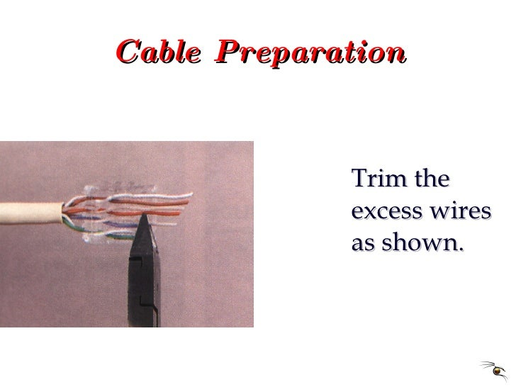 Cable Preparation <ul><li>Trim the excess wires as shown. </li></ul>