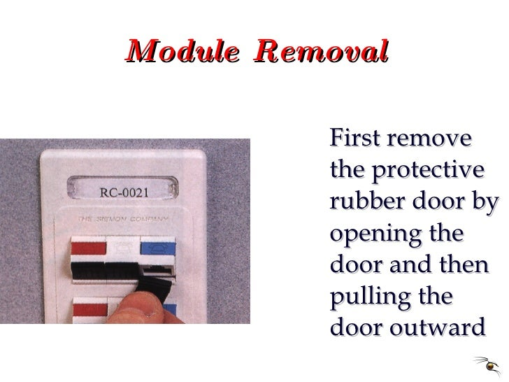 Module Removal <ul><li>First remove the protective rubber door by opening the door and then pulling the door outward </li>...