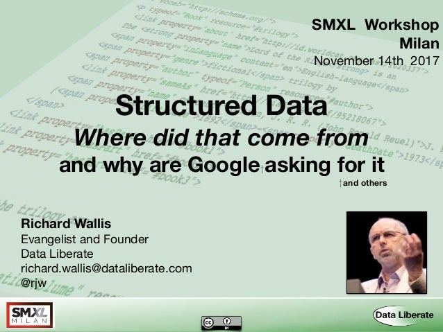Structured Data Where did that come from and why are Google†asking for it †and others Richard Wallis Evangelist and Founde...