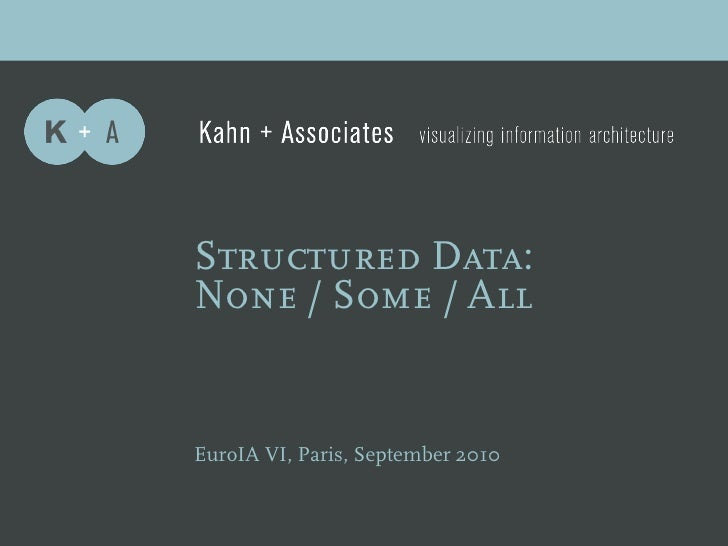 Structured Data: None / Some / All   EuroIA VI, Paris, September 2010