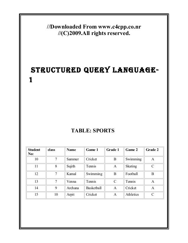 //Downloaded From www.c4cpp.co.nr//(C)2009.All rights reserved.STRUCTURED QUERY LANGUAGE-1TABLE: SPORTSStudentNo:class Nam...