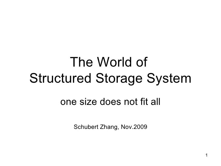 The World of  Structured Storage System one size does not fit all Schubert Zhang, Nov.2009
