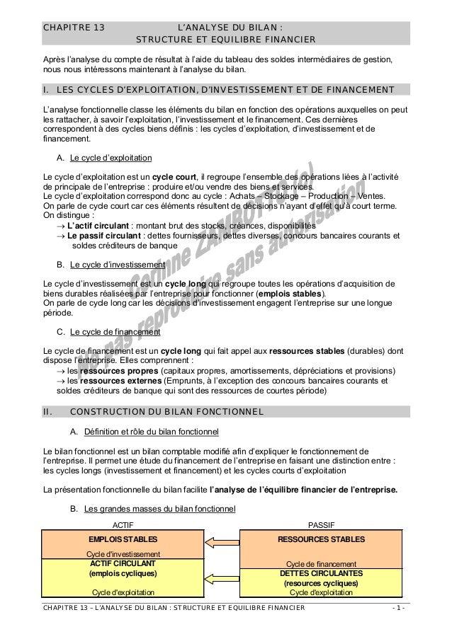 CHAPITRE 13  L'ANALYSE DU BILAN : STRUCTURE ET EQUILIBRE FINANCIER  Après l'analyse du compte de résultat à l'aide du tabl...