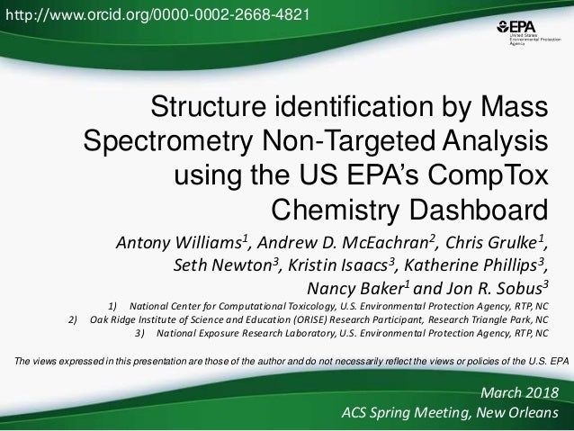 Structure identification by Mass Spectrometry Non-Targeted Analysis using the US EPA's CompTox Chemistry Dashboard Antony ...