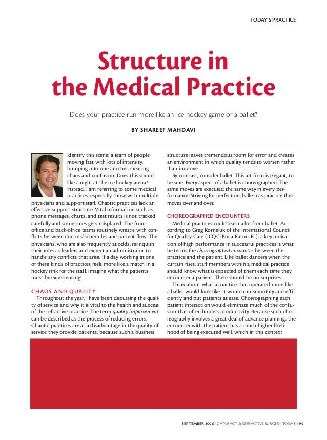 TODAY'S PRACTICE             Structure in         the Medical Practice                 Does your practice run more like an...