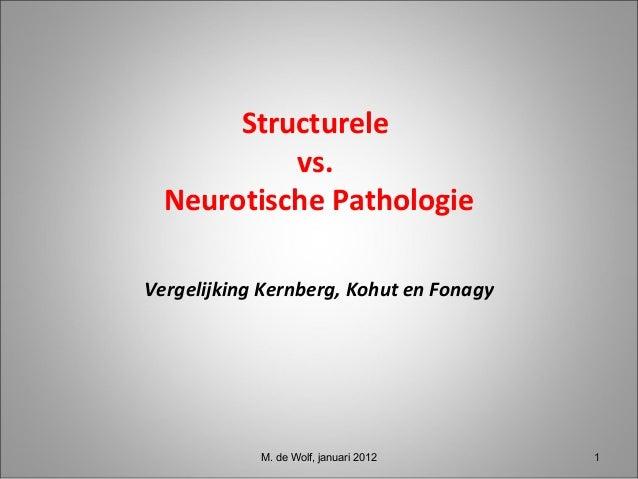 Structurele vs. Neurotische Pathologie Vergelijking Kernberg, Kohut en Fonagy M. de Wolf, januari 2012 11