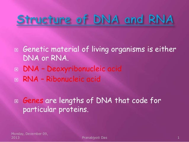        Genetic material of living organisms is either DNA or RNA. DNA – Deoxyribonucleic acid RNA – Ribonucleic acid G...