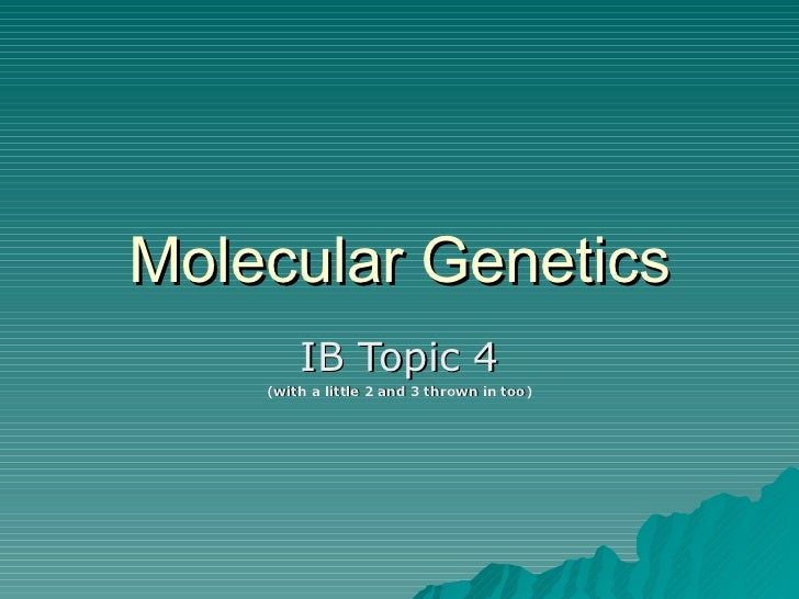 Molecular Genetics IB Topic 4 (with a little 2 and 3 thrown in too)
