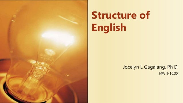 Jocelyn L Gagalang, Ph D MW 9-10:30 Structure of English