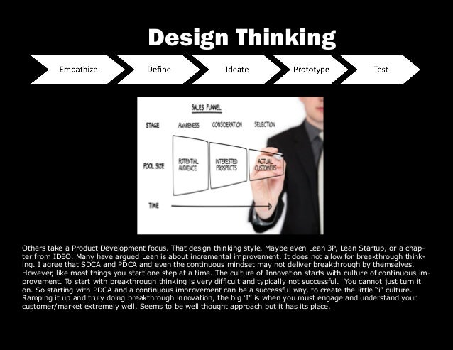 Others take a Product Development focus. That design thinking style. Maybe even Lean 3P, Lean Startup, or a chap- ter from...