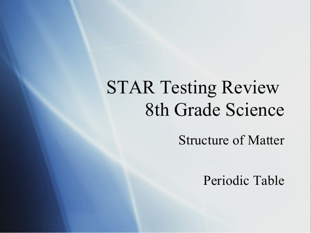 STAR Testing Review8th Grade ScienceStructure of MatterPeriodic Table