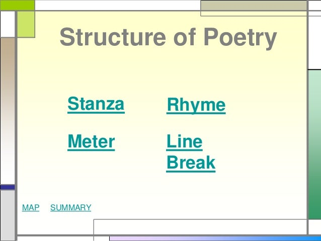 Structure Of Poetry The greatest challenge of the poetic translation is transferring the structure of the poetic text, which requires use of rhymes and a certain verse. structure of poetry