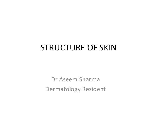 STRUCTURE OF SKIN Dr Aseem Sharma Dermatology Resident