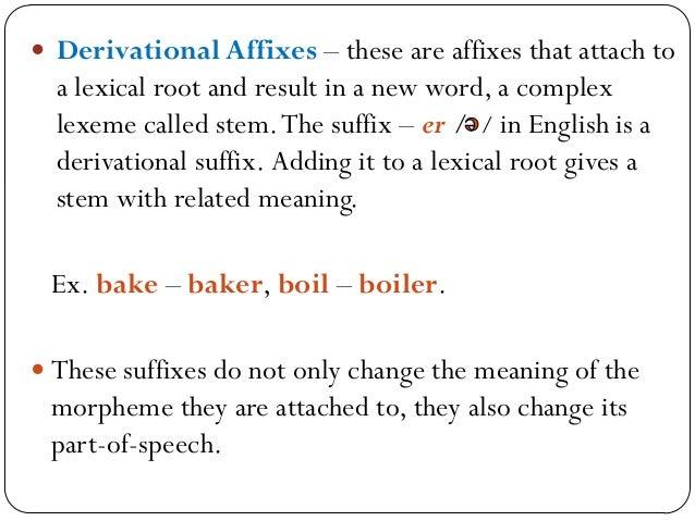  Ex.  Noun –Adjective Verb – Noun Adjective – Adverb boy + ish sing + er exact + ly  Noun –Verb Adjective – Noun Verb –...