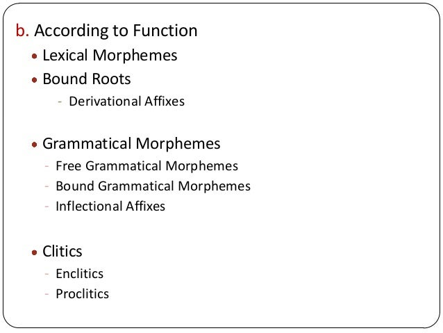 b. According to Function Lexical Morphemes Bound Roots - Derivational Affixes Grammatical Morphemes - Free Grammatical Mor...