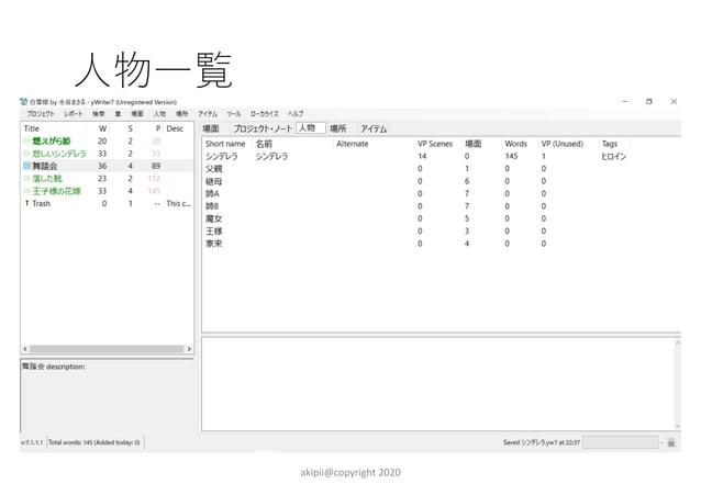 場面一覧 akipii@copyright 2020