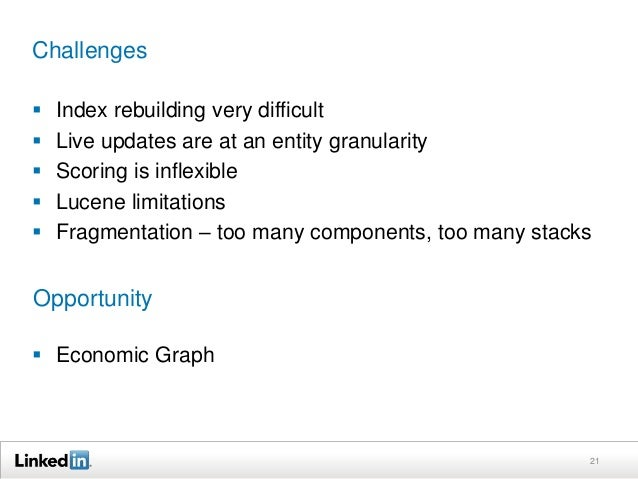 Challenges  Index rebuilding very difficult  Live updates are at an entity granularity  Scoring is inflexible  Lucene ...