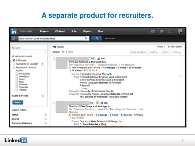 A separate product for recruiters. 8