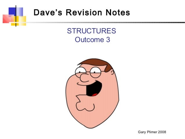 Dave's Revision Notes       STRUCTURES         Outcome 3                        Gary Plimer 2008