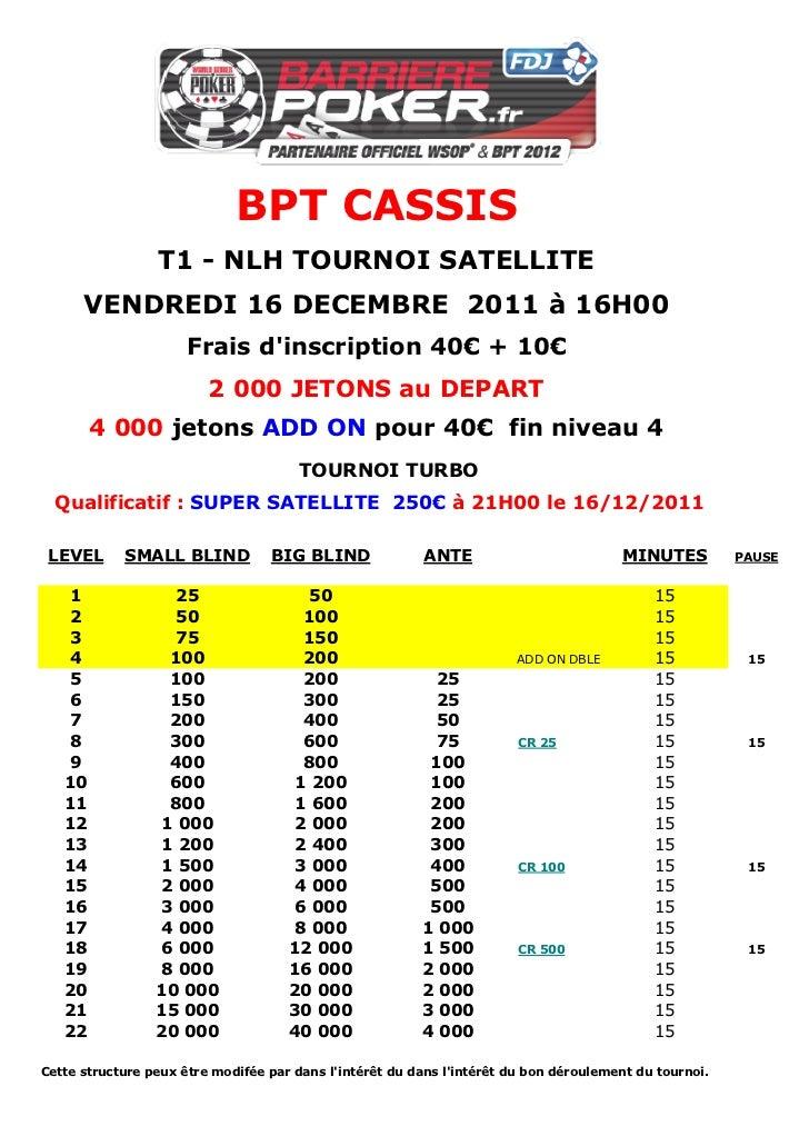 BPT CASSIS                 T1 - NLH TOURNOI SATELLITE      VENDREDI 16 DECEMBRE 2011 à 16H00                      Frais di...