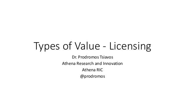 Types of Value - Licensing Dr. Prodromos Tsiavos Athena Research and Innovation Athena RIC @prodromos