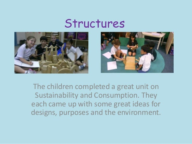 Structures The children completed a great unit on Sustainability and Consumption. Theyeach came up with some great ideas f...