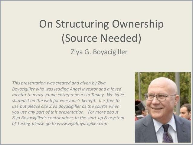 On Structuring Ownership (Source Needed) Ziya G. Boyacigiller This presentation was created and given by Ziya Boyacigiller...