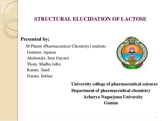 STRUCTURAL ELUCIDATION OF LACTOSE Presented by; M Pharm (Pharmaceutical Chemistry) students Gunturu .Aparna Akshintala. Sr...