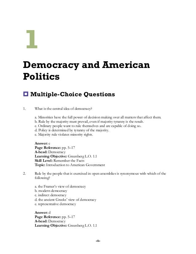 multiple choice questions on democracy