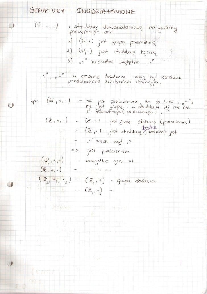Algebra - struktury dwudziałaniowe
