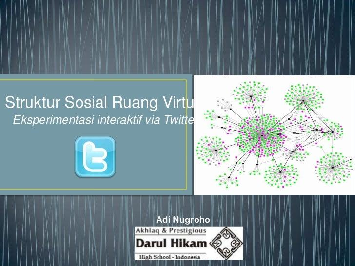 Struktur Sosial Ruang Virtual Eksperimentasi interaktif via Twitter                             Adi Nugroho