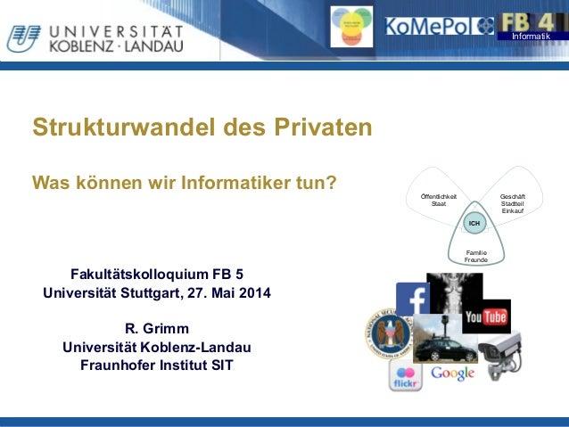 Informatik Strukturwandel des Privaten  Was können wir Informatiker tun? ! Fakultätskolloquium FB 5 Universität Stuttga...