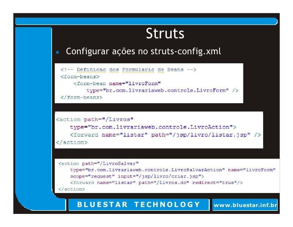 Struts Configurar ações no struts-config.xml       BL U E ST AR T E CHNOL OG Y      www.bluestar.inf.br