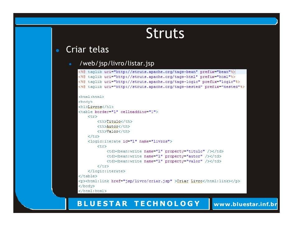 Struts Criar telas    /web/jsp/livro/listar.jsp       BL U E ST AR T E CHNOL OG Y     www.bluestar.inf.br