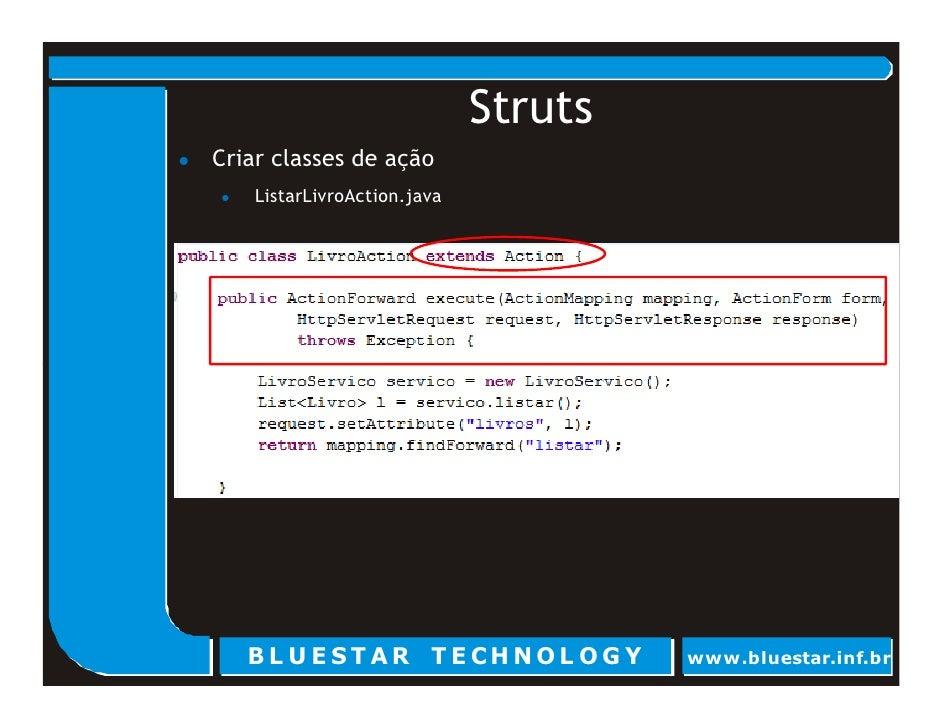 Struts Criar classes de ação     ListarLivroAction.java        BL U E ST AR T E CHNOL OG Y        www.bluestar.inf.br