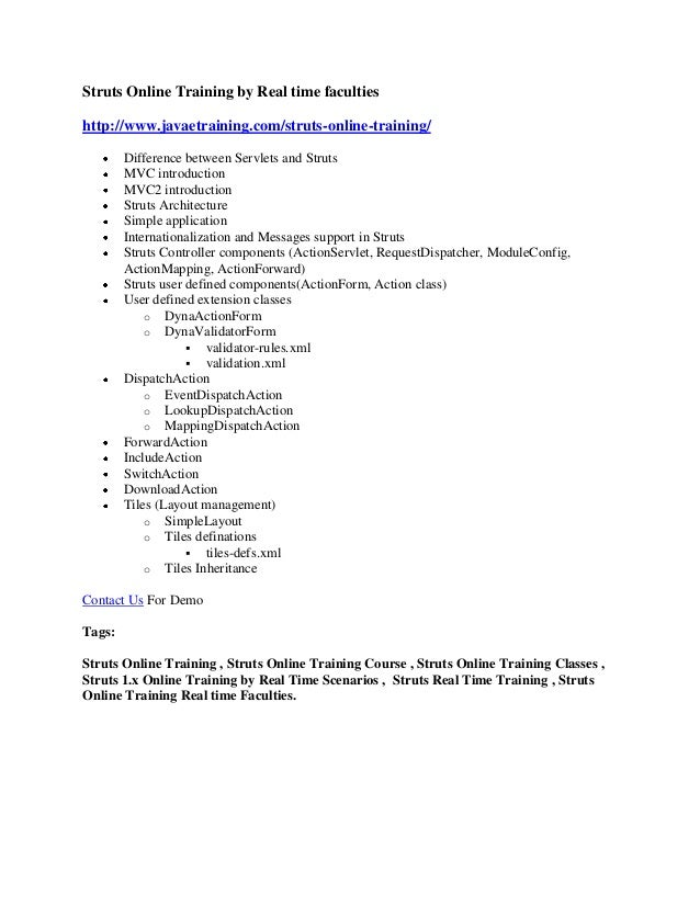 Struts Online Training by Real time faculties http://www.javaetraining.com/struts-online-training/ Difference between Serv...