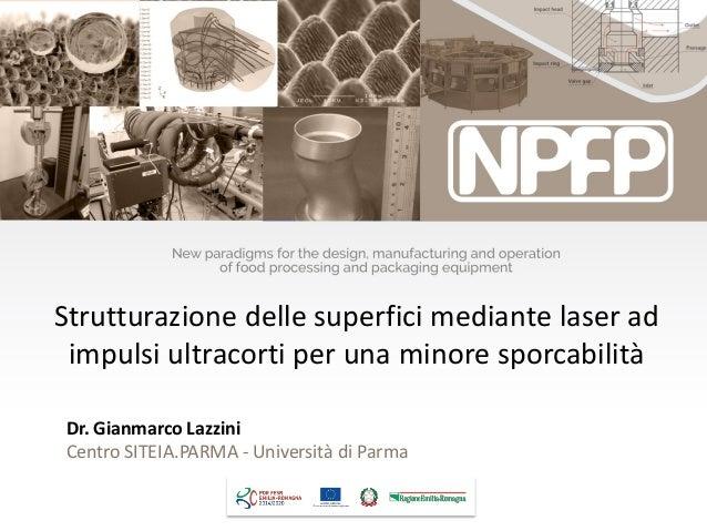 Dr. Gianmarco Lazzini Centro SITEIA.PARMA - Università di Parma Strutturazione delle superfici mediante laser ad impulsi u...