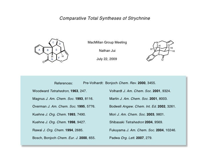 Comparative Total Syntheses of Strychnine                    N               C                        D           MacMilla...