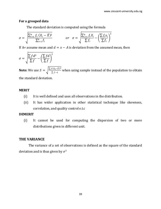Worksheet Formula For Ungroup And Group Data Mode Maen Median Harimic Mean Geometric Mean lecture notes on sts 102 38 39 www crescent university edu ng for a grouped data the standard deviation is computed using formula if assume mean