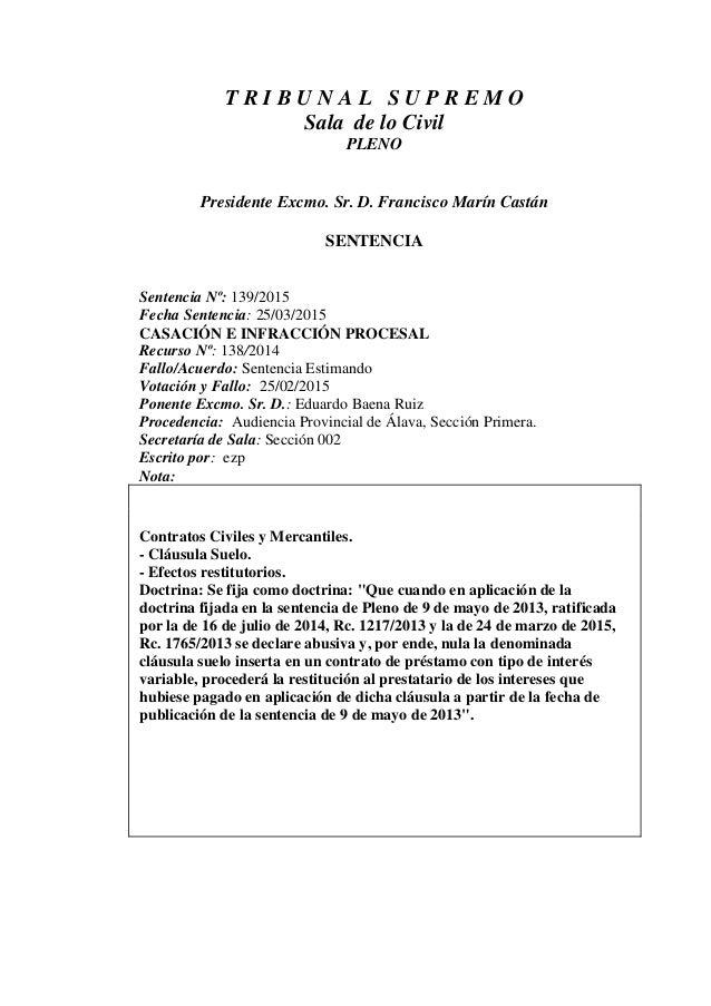Sts clausula suelo 2015 for Escrito clausula suelo