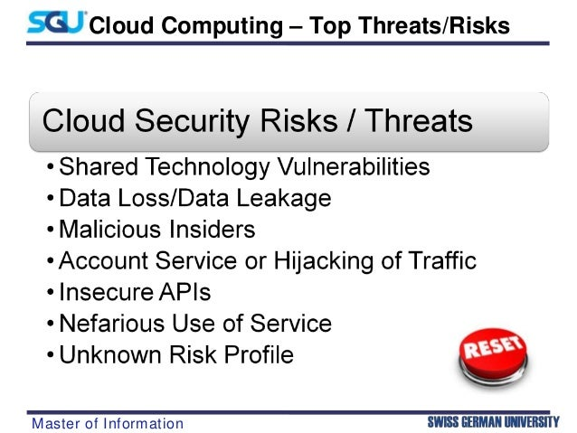 security risks in cloud computing Cloud security risks does cloud security risks ever bother you it would be weird if it didn't cloud computing has a lot of benefits, but also a lot of risks if done in the wrong way.
