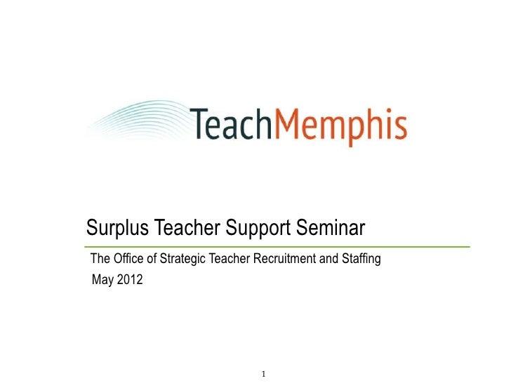 Surplus Teacher Support SeminarThe Office of Strategic Teacher Recruitment and StaffingMay 2012                           ...