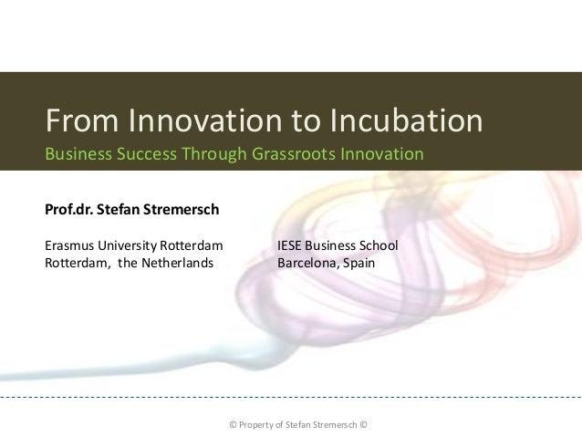 From Innovation to IncubationBusiness Success Through Grassroots InnovationProf.dr. Stefan StremerschErasmus University Ro...